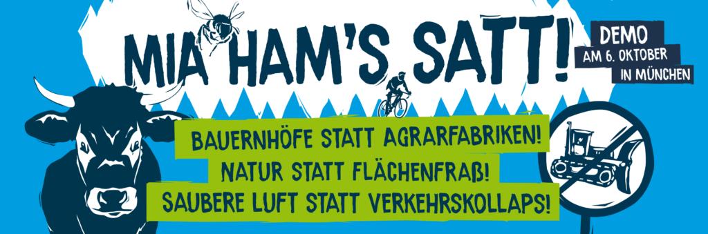 Mia ham's satt! Demo am 06.10.2018, 11h Königsplatz